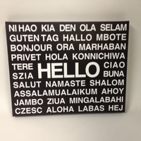 HELLO Languages STRETCHED CANVAS - Multiple Different Language Hallway and Wall Art Typography Black and White