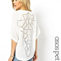 ASOS PETITE Top with Dip Back and Cutwork