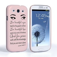 Caseflex Samsung Galaxy S3 Case Audrey Hepburn Eyes Quote Hard Cover