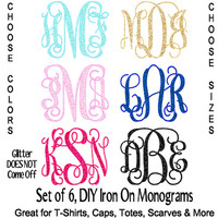 Set of 6 DIY Iron On GLITTER Monograms, Personalized T-Shirt, Iron On Monograms