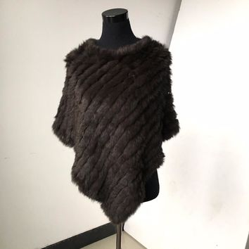 C705V  SALE CLEARANCE Real Knitted rabbit  Shawl poncho stole shrug cape robe tippet wrap women  warm coat/outwear