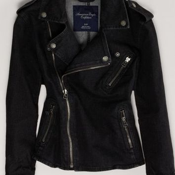 AEO Women's Denim Moto Jacket (Black)