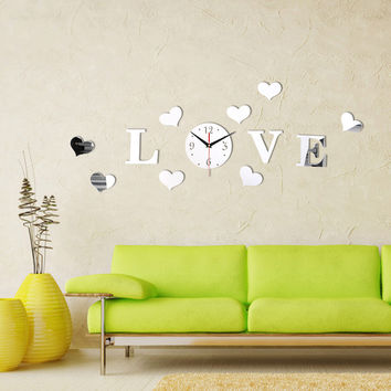 New Creative Romantic Silver Color Acrylic Mirror Effect LOVE Letter Decal Wall Sticker Clock Mechanism