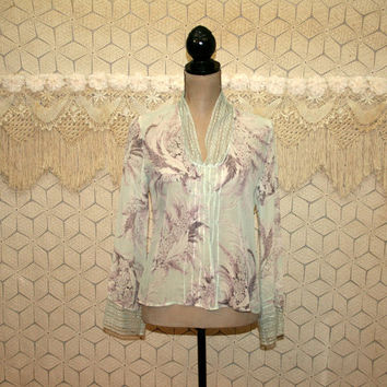 Sheer Top Silk Blouse Romantic Lace Mint Green Purple Floral Boho Clothing Small Medium Long Sleeve Shirt Womens Clothing