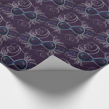 Purple Blue and Silvery Theater Mask Wrapping Paper