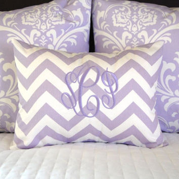Decorative Throw Pillow Cover ONE 18 x 18 Inches - Nursery Decor Purple Lilac and Gray on White Mix and Match Cushion Covers