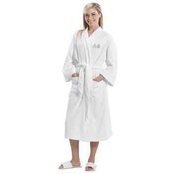 Alpha Phi Terry Bath Robe,Alpha Phi Terry Spa Robe, Sorority Letter Bath Robe, Greek Apparel, Sorority Clothing