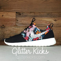Nike Roshe One Customized by Glitter Kicks - BLACK/WHITE/FLORAL PRINT