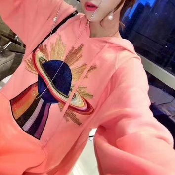 DCCKH3L GUCCI' Fashion Casual Embroidery Pattern Long Sleeve Hooded Sweater Hoodie