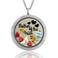 Mother of the Bride Gifts/Bridesmaid Gifts/Wedding Locket Bridal Jewelry/Bridal Party Gift/Floating Locket/Custom Engraved Plate/Bride Gift