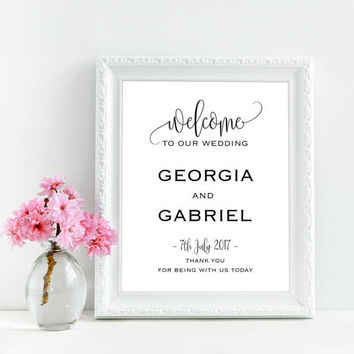 Custom welcome sign for wedding, Large welcome to our wedding sign, Printable rustic welcome sign, Custom wedding signs, Personalized signs