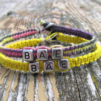 BAE, Before Anyone Else, Bright Yellow and Flirt Macrame Hemp Jewelry for Couples or Best Friends