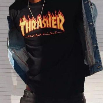 Thrasher Fashion Casual Magazine Flame Personality T-Shirt Print Short Sleeve Top White G-1