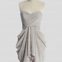 Grey bridesmaid dress, cheap bridesmaid dress, short bridesmaid dress, short prom dress, chiffon bridesmaid dresses, RE271