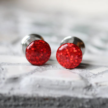 """Red Glitter Ear Gauges, Sparkly Red Plugs, Festive Gauges, Ruby Slippers Plugs - sizes 0g, 00g, 7/16, 1/2, 9/16, 5/8, 3/4, 7/8, 1"""""""