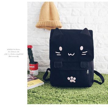 Princess sweet lolita bag Japan harajuku style cartoon cat black canvas casual cute cat student backpack BAG130