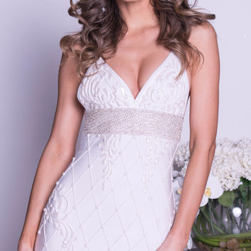 BOSTON PAINTED BANDAGE DRESS IN WHITE