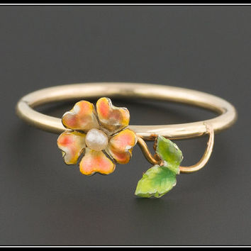 10k Gold Enamel Flower Ring | 10k Gold Ring | Antique Conversion Ring | Stacking Ring | Enamel Ring