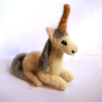 Needle Felted Unicorn Miniature Fantasy Sculpture by Knittynudo