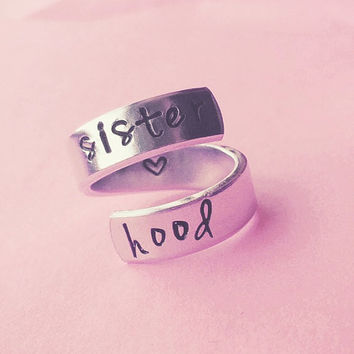 sisterhood spiral hand stamped aluminum ring heart inside