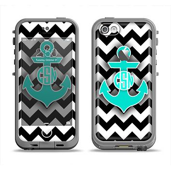 The Teal Green Monogram Anchor on Black & White Chevron Apple iPhone 5c LifeProof Fre Case Skin Set