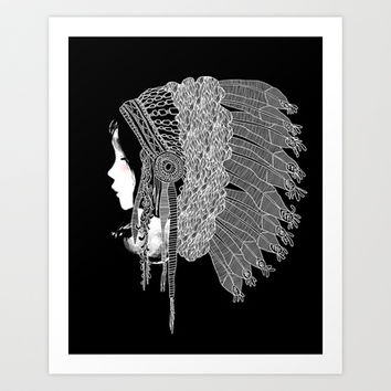 Native Indian Headpiece Art Print by Budi Satria Kwan