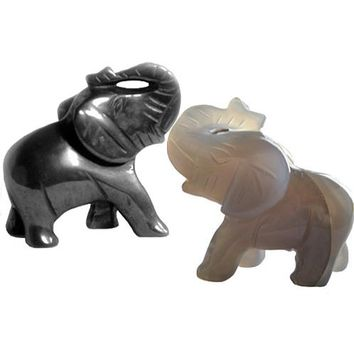 Gemstone Good Luck Elephants In Hematite And Natural Agate
