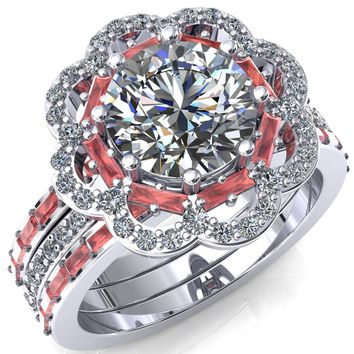 Camelia Round Moissanite Accent Diamond and Padparadscha Sapphire Halo Ring