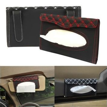Sun Visor Tissue Paper Box Case Car Interior Auto Accessories Holder Napkin Clip PU Leather