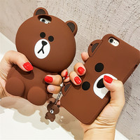 Cute Korean Cartoon Capa Case 3D Teddy Bear Coque Silicone Phone Cases For iPhone 7 7Plus 5 5S SE 6 6S 6Plus Fundas