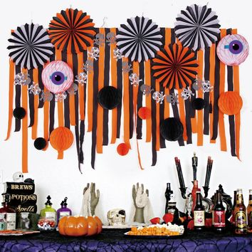 Eerie Halloween Decoration Kit Assorted Paper Pinwheels Crepe Paper Streamers Backdrop Spooky Honeycomb Eyballs Balls Banner