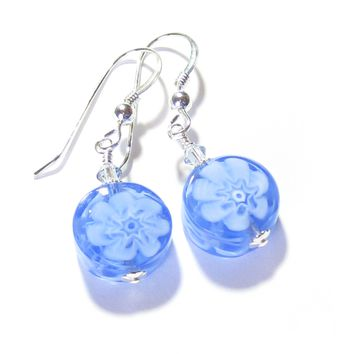 Murano Glass Blue Millefiori Coin Silver Earrings