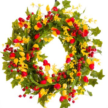 Red & Yellow Spring and Summer Wreath with Berries (SW030)