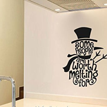 Snowman Silhouette Some People are Worth Melting For Vinyl Wall Words Decal Sticker Graphic