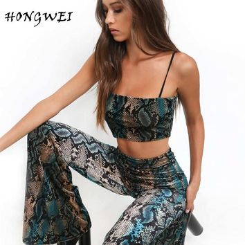 Hongwei 2018 Spring Summer Sexy Womens Two Piece Sets Spaghetti Strap Crop Top and Flare Pants Set Two Piece Set Top and Pants
