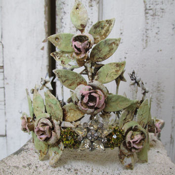 Statue crown rusty metal hand painted pink roses green vines shabby cottage chic tiara headdress up cycled home decor anita spero