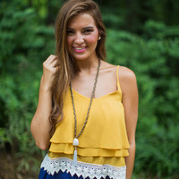 Layered Crochet Tank Top in Mustard