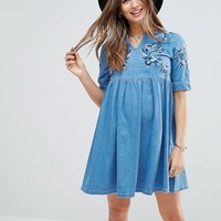 ASOS MATERNITY Denim Smock Dress in Mid Wash Blue With Embroidery at asos.com