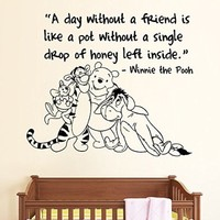 A Day Without A Friend Wall Decals Quotes Kids Nursery Bedroom Decal Sticker Home Decor Art Mural Playroom Winnie The Pooh And Friend SM161