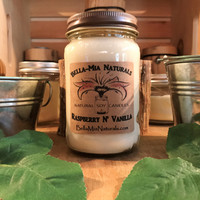 Raspberry N' Vanilla Natural Hand Poured Soy Candles