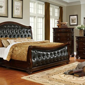5 pc Forth Worth collection traditional style dark cherry finish wood tufted and padded queen bedroom set