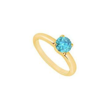 Blue Topaz Ring : 14K Yellow Gold - 1.00 CT TGW