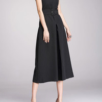 Black Stripe Jumpsuit With Wide Legs And V NECK