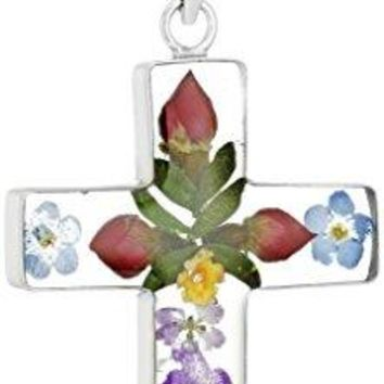 """SHIP BY USPS 14k Gold Over Sterling Silver Pressed Flower Multi-Colored Cross Pendant Necklace, 18"""""""