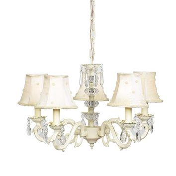 Jubilee Collection 71503-70062 Glass Turret Ivory Five-Light Mini Chandelier with Ivory Pearl Dot Chandelier Shades