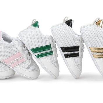 New Adidas Style Newborn Infant Toddler Baby Leather Soft Soled Non-Slip First Walker Sneakers Branded Shoes