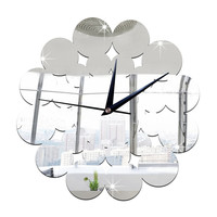 Living Room Decoration Silent Paper-cut Flower Mirror Wall Clock   silver