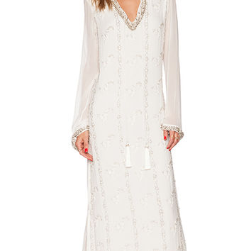 ROCOCO SAND Embellished Georgette Maxi Dress in Ivory
