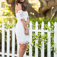 Corinne White Off the Shoulder Embroidered Dress