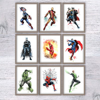Superhero art poster Set of 9 Superhero watercolor print Superhero wall decor Boys room decoration Kids room wall art Comic book heroes V365